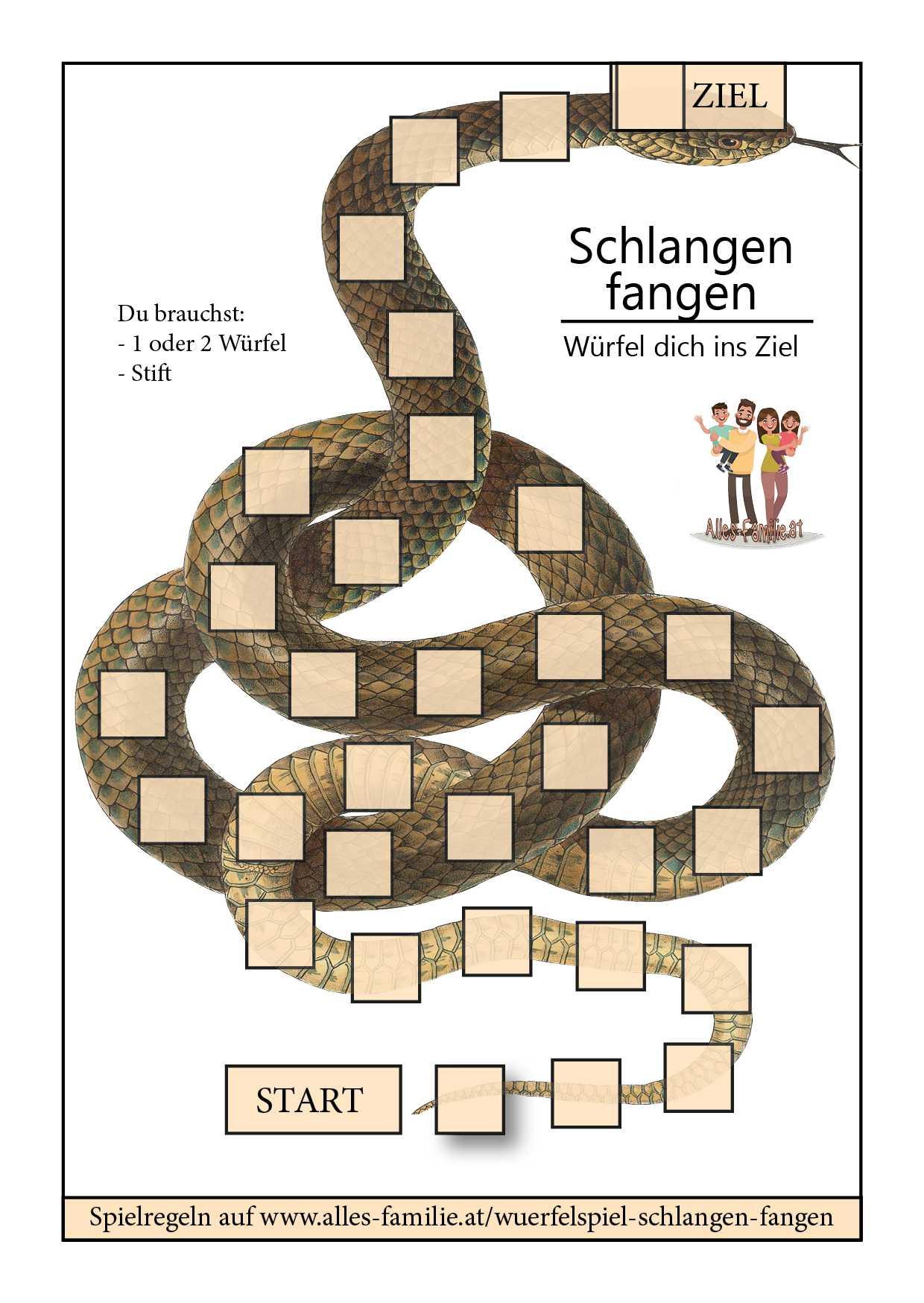 Würfelspiel für Kinder   Schlangen fangen